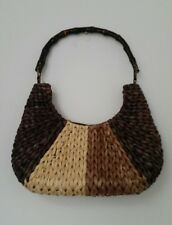 Brown Beige Straw Wicker Handbag Purse Bag With Wooden Handle Size M L Summer