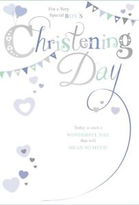 """Baby Boy Christening Day Greetings Card - Blue Hearts & Bunting 7.75"""" x 5.25"""""""