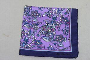 David Donahue Men's Purple Floral Pocket Square