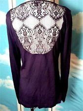 ABS by Allen Schwartz Womans Blouse Sz M Knit Lace Back Sequined Neckline Black