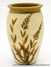 "Hand Thrown Art Pottery Vase Brown Hand Painted Leaves Floral 7"" Signd Stoneware"