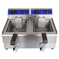 Electric Countertop Deep Fryer 20L Dual Tank Commercial Restaurant Meat 3600W
