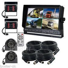 "4Pin 12-24V Car Reversing & Side View Camera Kit 9"" Quad Monitor 4x CCD Camera"