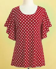 Womens Plus Size Red Polka Dot Top Flutter Sleeve Scoop Neckline 2X 22/24