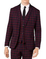INC Mens Blazer Red Size XL Slim-Fit Tartan Plaid Notch-Lapel 2-Button $129 095