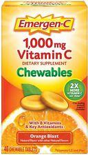 Emergen-C 500mg Vitamin C Chewables Orange Blast 40 Tablets - 1000mg serving