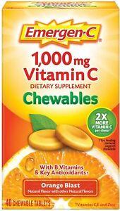 Emergen-C 500 mg Vitamin C Chewables, Orange Blast, 40 Tablets - with Zinc & B6