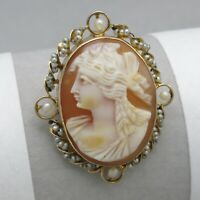 Vtg 1930's Art Deco 10k Gold Carved Shell Cameo Seed Pearl Brooch Pin Pendant