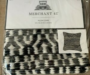 Dark Gray & Cream Woven Pillow Cover