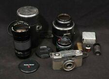 Ron's Lot Vintage Olympus-Pen-ee Camera Vivitar Series 1 Lens Clamp & Cases