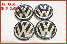 VOLKSWAGEN CENTER CAPS VW JETTA BEETLE PASSAT TOUAREG TIGUAN CC BLACK/CHROME 4X