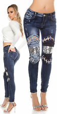 New Women Clubbing Skinny Jeans Ladies Trouser Silver Sequins Pants size 8 10 14