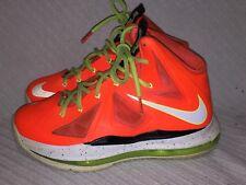 Youth Size 5Y Nike Lebron 10 Gs Total Crimson/Fiberglass-Black- Volt 543564-800