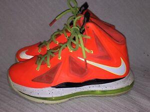 Youth Size 5Y Nike Lebron 10 GS Total Crimson/Fiberglass-Black-Volt 543564-800