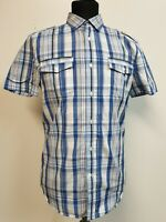MENS DIESEL BLUE WHITE YELLOW CHECK S/SLEEVE SHIRT UK S EU 46