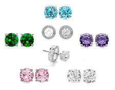 5 Sets Of White Gold Plated Crystal Stud Interchangeable Halo Earrings