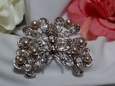 Vintage Estate Silver Butterfly Rhinestone Pearl Bead Brooch Pin