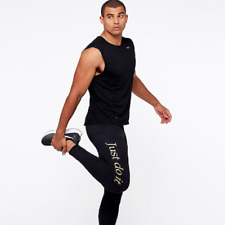 Nike Tech GX Men's Screen Printed Gold Just do it Running Training Gym Tights L