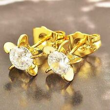 CUTE YELLOW GOLD FILLED GF CLEAR ZIRCON CZ STUD EARRINGS.
