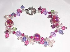 RAINBOW CONNECTION Lampwork Crystal Silver Purple Pink Charm Bracelet
