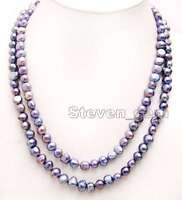 """Natural Black 8-9mm Baroque Freshwater Pearl Necklace Women Long Necklace 40"""""""
