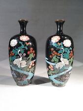 ANCIENNE PAIRE DE VASES EN CLOISONNE EMAILLE POLYCHROME DECOR OISEAUX JAPON