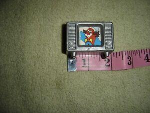 "Vtg Gray Plastic TV Cardboard Insert Clown Show 1.25"" Toy Dollhouse Mini FLAW"