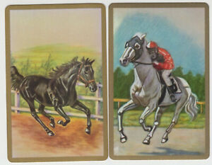 Playing Swap Cards  GENUINE 2 only single HORSES BAREBACK & RIDER