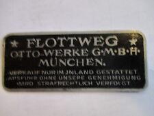 Typenschild oldtimer Schild Vorkrieg Alu Otto-Werke Flottweg Motorrad S23
