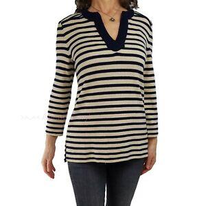 TORY BURCH L Navy Blue Oatmeal Beige Nautical Stripe Tunic Sweater Spring Top