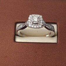 10k White Gold Flower Halo Antique Round Diamonds Engagement Bypass Ring