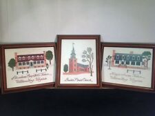 "Vintage Set of 3 Williamsburg Framed Finely Crafted Needlework 10""x12"" pictures"