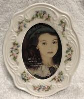 "Vintage ROC Porcelain Picture Frame White W/ Floral Trim 2.5"" x 3.5"" Opening"