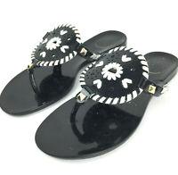 Jack Rogers Womens 5 Black White Stitching 'Georgica' Thong Jelly Sandal Flats