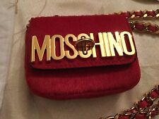 Moschino Couture Jeremy Scott Furry Mini RED Chain Crossbody Waist Bag Faux Fur