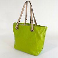 Michael Kors Lime Green Patent Leather Adjustable Strap Shoulder Tote Bag Jet