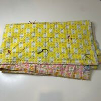 vintage hand tie quilt throw baby blanket yellow pink daisy print reversible