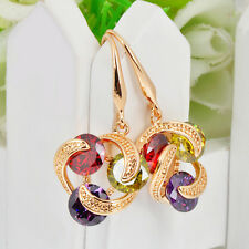Women's Ruby/Peridot/Amethyst Drop/Dangle Hook Earrings Zircon+gold Jewelry
