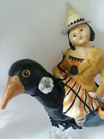 """Retired Nicole Sayre Large 14"""" Halloween Witch Riding Crow Figure"""