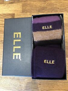 Elle Socks 2 Pair Knee High Angora Gift Box Size 4-8