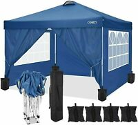 10'x10' Canopy Folding Gazebo Durable Oxford Cloth Party Tent With 4 Side Walls@