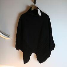 VALENTINO BLACK KNITTED CABLE PONCHO SWEATER XL Cape Jacket Shrug coat jacket