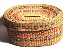 Vintage Handmade Hand Woven Covered Basket Straw and Wheat