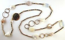 £115 Gold Brown Cream White Mother Of Pearl Shell Glass Long Chain Link Necklace