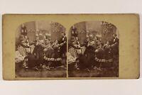 Scena Da Genere Jeux Modalità Robe Artistico c1860 Foto Stereo Vintage Albumina