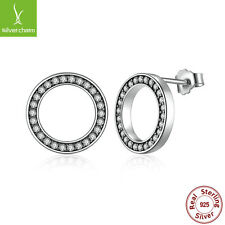 NEW 925 Sterling Authentic Clear Pave CZ Forever Round Stud Earrings For Female