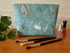 Handmade Toiletries Wash Bag Large Make Up Cosmetics Case Swan Cotton Fabric