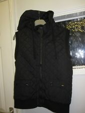 LADIES BLACK BODY WARMER GILET SIZE 12-14 HOODED SLEEVELESS QUILTED COAT JACKET