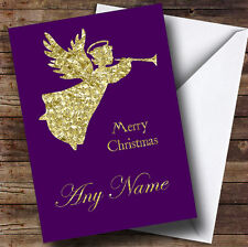 PURPLE GOLD xmas angel natale personalizzata CARD