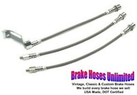 STAINLESS BRAKE HOSE SET Ford Mustang 1967 1968 1969, Front Drum
